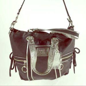 Coach poppy black silver tote shoulder bag